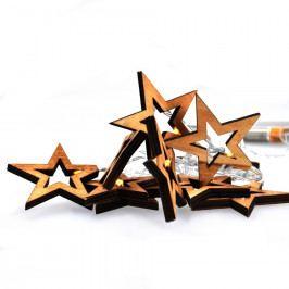 1V205 Solight LED řetěz vánoční hvězdy dřevěné, 10LED řetěz, 1m, 2xAA, IP20