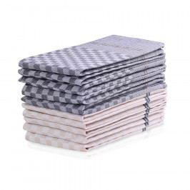 DecoKing Kuchyňská utěrka Louie tm. šedá, béžová, 50 x 70 cm, sada 10 ks