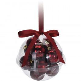 Sada vánočních ozdob Xmas Ball červená, 14 ks