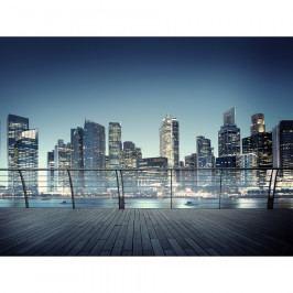 AG Art Fototapeta XXL Noční panorama mrakodrapů 360 x 270 cm, 4 díly