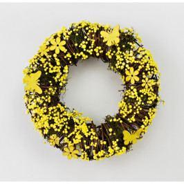 Umělý věnec Yellow Flowers, pr. 24 cm