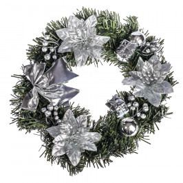 HTH Zdobený vánoční věnec pr. 25 cm stříbrná Vánoční dekorace