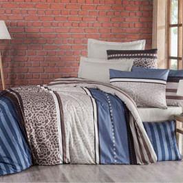 Kvalitex Bavlněné povlečení Delux Stripe modrá, 220 x 200 cm, 2 ks 70 x 90 cm