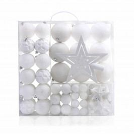 DecoKing Sada vánočních ozdob Shiny bílá, 100 ks Vánoční dekorace