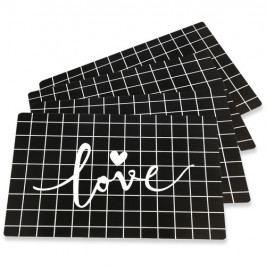 Altom Prostírání Love Black, 28 x 43 cm, sada 4 ks