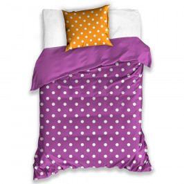BedTex Bavlněné povlečení Puntík fialová, 140 x 200 cm, 70 x 90 cm