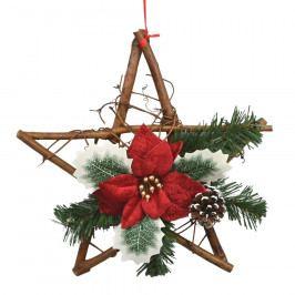 Vánoční proutěná hvězda s poinsettií Rojo červená
