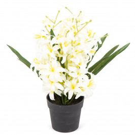 Umělá květina Lilie drobnokvětá v květináči bílá, 30 cm