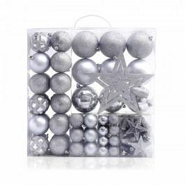 DecoKing Sada vánočních ozdob Star stříbrná, 100 ks Vánoční dekorace