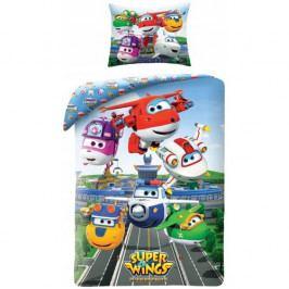 Halantex Dětské bavlněné povlečení Super Wings 5511, 140 x 200 cm, 70 x 90 cm