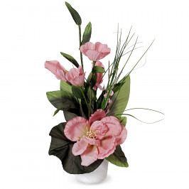 Aranžmá Růže v květináči růžová, 50 cm