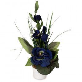 Aranžmá Růže v květináči modrá, 50 cm