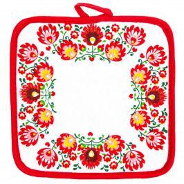 Domarex Kuchyňská podložka Folk červená, 20 x 20 cm