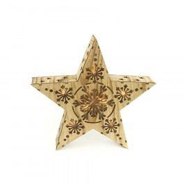Autronic Hvězda, vánoční dřevěná dekorace s LED světlem