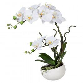 Umělá Orchidej v květináči bílá, 42 cm 115812-40