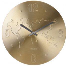 Nástěnné hodiny World zlatá, 35 cm