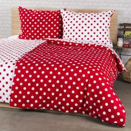 4Home Bavlněné povlečení Červený puntík, 220 x 200 cm, 2 ks 70 x 90 cm