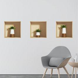 Sada 3 samolepek s 3D efektem Ambiance Alore Vera