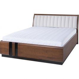 Dvoulůžková postel s béžovým polstrováním Szynaka Meble Porti Dark Antique