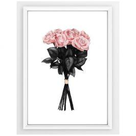 Plakát v bílém rámu Piacenza Art Pink Rose, 33,5 x 23,5 cm