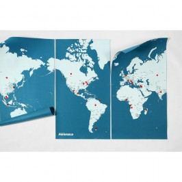 Modrá nástěnná mapa světa Palomar Pin World XL, 198x124cm
