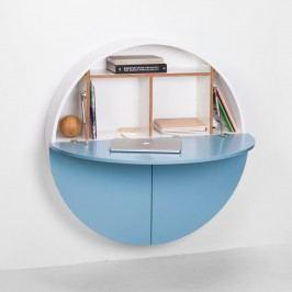 Modro-bílý multifunkční nástěnný stůl EMKO Pill