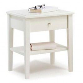 Bílý ručně vyráběný noční stolek z masivního březového dřeva Kiteen Anniina