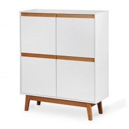 Bílá skříňka s podnožím a dřevěnými detaily Dřevotvar Ontur42