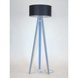 Modrá stojací lampa s černým stínítkem a transparentním kabelem Ragaba Wanda