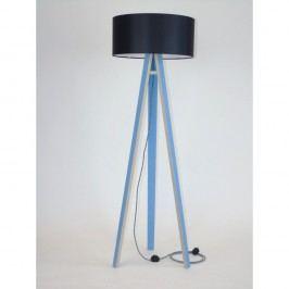 Modrá stojací lampa s černým stínítkem a černo-bílým kabelem Ragaba Wanda