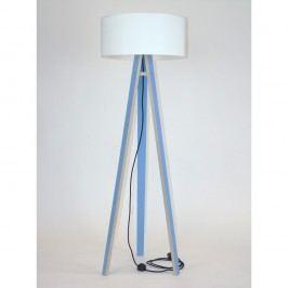 Modrá stojací lampa s bílým stínítkem a černým kabelem Ragaba Wanda