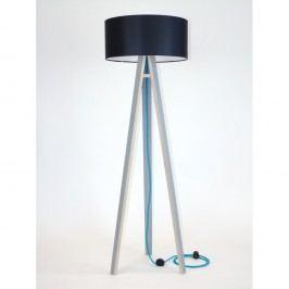 Šedá stojací lampa s černým stínítkem a tyrysovým kabelem Ragaba Wanda