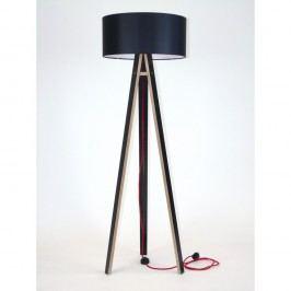Černá stojací lampa s černým stínítkem a červeným kabelem Ragaba Wanda