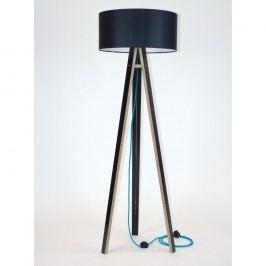 Černá stojací lampa s černým stínítkem a tyrkysovým kabelem Ragaba Wanda Volně stojící lampy
