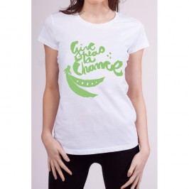 Dámské tričko s krátkým rukávem KlokArt Give Peas, vel. M