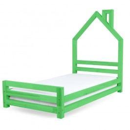 Dětská zelená postel z borovicového dřeva Benlemi Wally,90x160cm