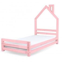Dětská růžová postel z borovicového dřeva Benlemi Wally,80x180cm
