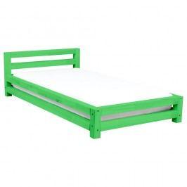 Zelená dvoulůžková postel z borovicového dřeva Benlemi Double,200x200cm