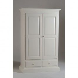 Bílá dřevěná dvoudveřová šatní skříň Castagnetti