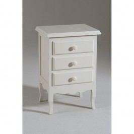 Bílý dřevěný noční stolek se 3 zásuvkami Castagnetti Mare