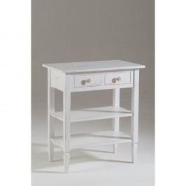 Bílý dřevěný TV stolek s poličkou Castagnetti Ellie