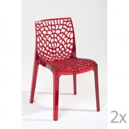 Sada 2 červených jídelních židlí Castagnetti Afrodite