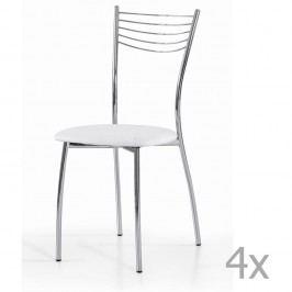 Sada 4 bílých jídelních židlí Castagnetti Cromo