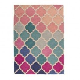 Modro-růžový vlněný koberec Flair Rugs Rosella, 160x220cm