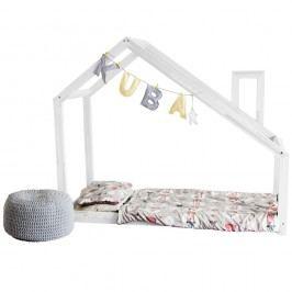 Bílá postel s vyvýšenými nohami a bočnicemi Benlemi Deny, 100x200cm, výška nohou30cm