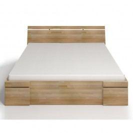 Dvoulůžková postel z bukového dřeva se zásuvkou SKANDICA Sparta Maxi, 160x200cm