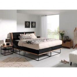 Černá  dvoulůžková boxspring postel Sinkro Berlin Calling, 180x200cm