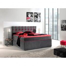 Šedorůžová dvoulůžková boxspring postel Sinkro Play Safe, 200x200cm Dvoulůžkové postele