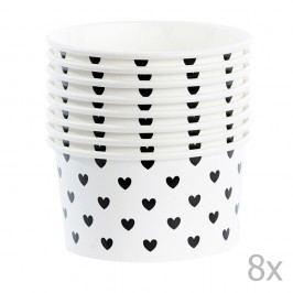 Sada 8 papírových kelímků na zmrzlinu se lžičkami Miss Étoile Black Hearts