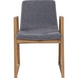 Šedá židle s dubovou konstrukcí Kare Design Trapez